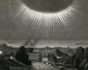 1851 Antique Steel Engraving of Sun, Clouds, and Rainbows