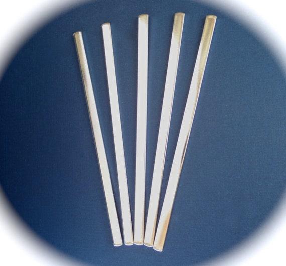 10 Polished 1/4 x 6 Inch 14 Gauge SHEAR CUT Bracelet Blank Cuffs Pure Food Safe Aluminum - 10 Cuffs - Flat