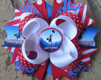 Mary Poppins Inspired Custom Boutique Hair Bow for Disney World Vacation, Birthday Party or Halloween Costume