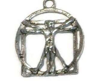 Vitruvian Man Charm, (2) Pieces, Leonardo da Vinci, 2 charms