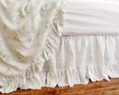 LILY..BED SKIRT with frayed ruffle in 100% linen