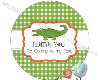 Personalized Green Alligator Thank You stickers,