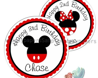 Mickey Mouse Stickers, Disney Birthday Labels, Minnie Mouse Stickers