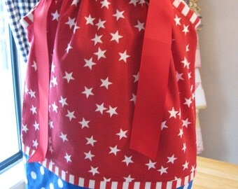 sample sale Patriotic Pillowcase Lots of dots Last One 18m/2t  only ready to ship Half OFF