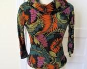 Handmade Crazy 70s Floral Renfrew Cowl Neck Tshirt