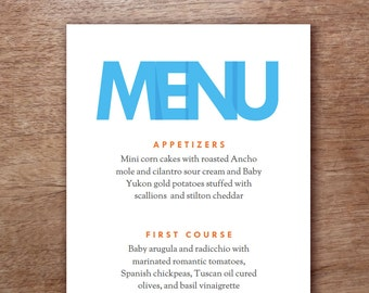Modern Blue Type Printable Menu Template - Wedding Menu - Printable Menu Template - Menu Template - Menu Cards - Printable Menu PDF
