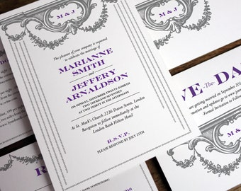 Printable Wedding Invitation Set - Vintage Garland - Gray and Purple Monogram Wedding Invite Set - Instant Download Printable Wedding PDFs