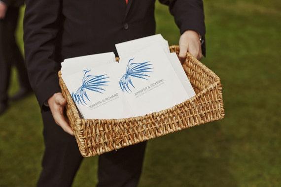 Printable Wedding Program - Wedding Program Template - Instant Download - Wedding Program PDF - Navy Blue Palm Frond - Palm Tree Program PDF