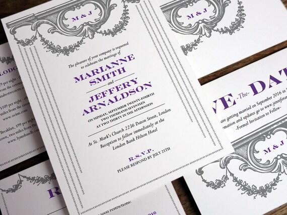 Printable Wedding Invitation Set - Vintage Garland - Gray and Purple Monogram Wedding Invite Set - Instant Download Printable Wedding PDFs
