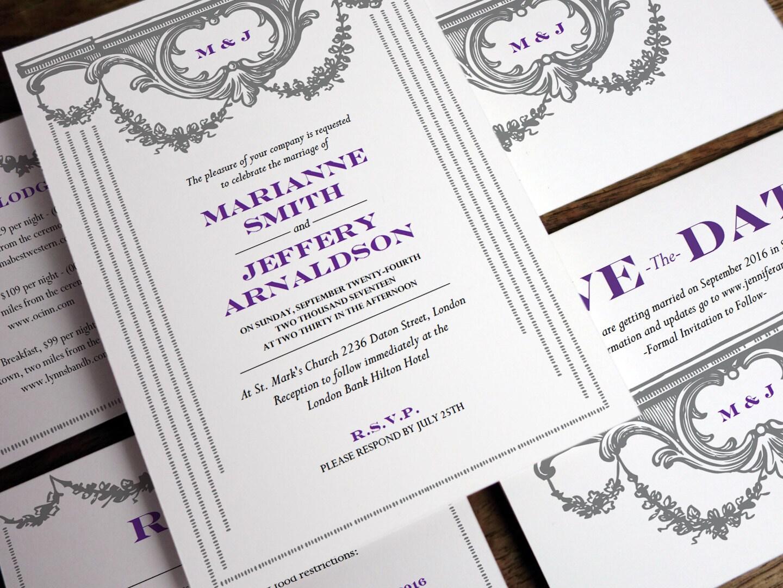 Printable Wedding Invitation Set - Vintage Garland - Gray and Purple ...