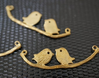 High Quality Raw Brass Cute Love Birds On Branch Charm Pendants - 1 pc