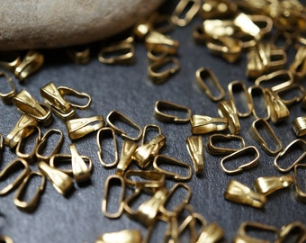 SALE - Raw Brass Vintage Style Clip On Pendant Bails  - 6mm Tall x 2mm Wide at Top -  20 pcs