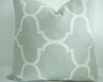 LAST ONE 20X20-Special l Kravet Seafoam--Decorative Pillow Cover--Designer Fabric - Geometric -Seafoam / Ivory Throw and Lumbar Pillow