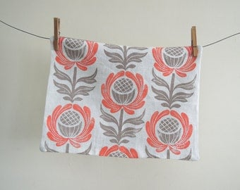 Coral, Swedish Blue or Lavender and Taupe Folk Art Floral on white hand printed linen decorative home decor pillow case 12x16