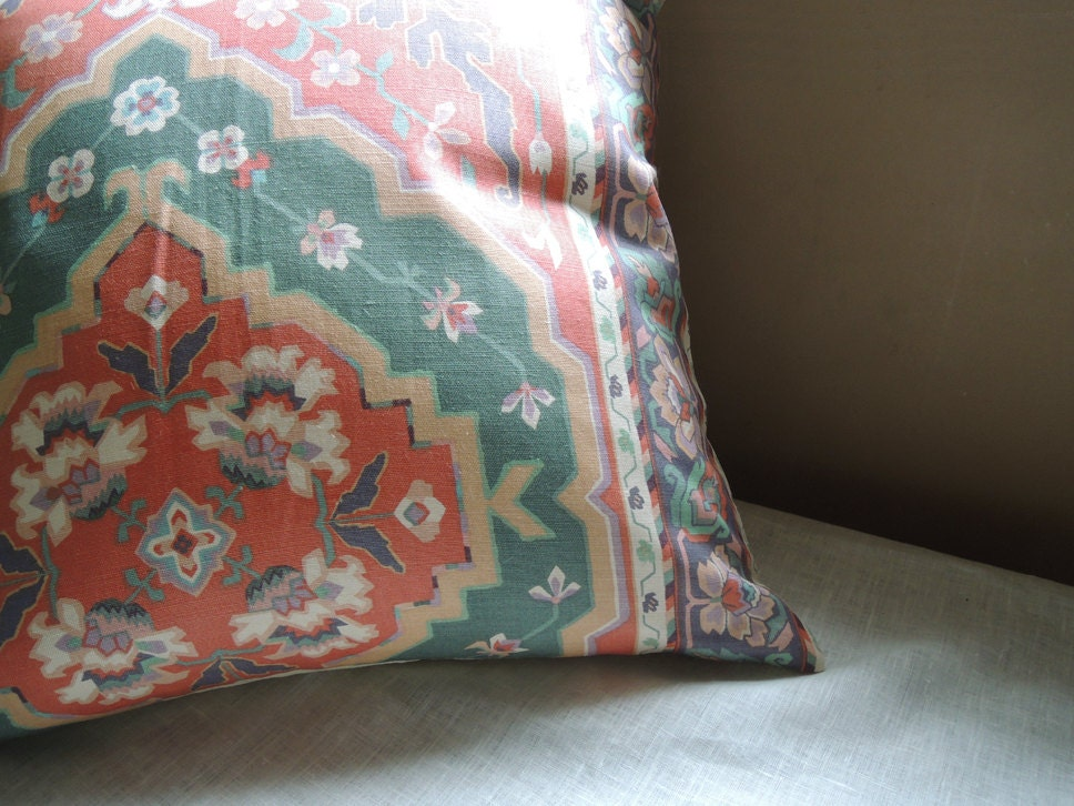Coral And Sea Foam Ikat Ethnic Linen Cotton Home Decor Pillow