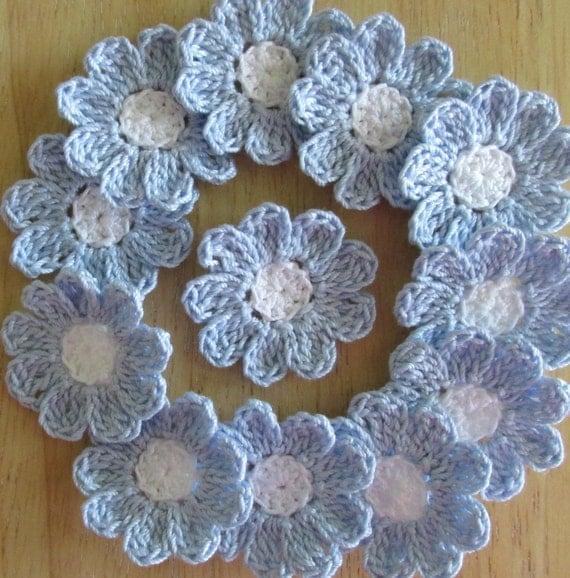 Bridal Blue and White, Crochet  Flowers, Handmade, Embellishments, Appliques - set of 12