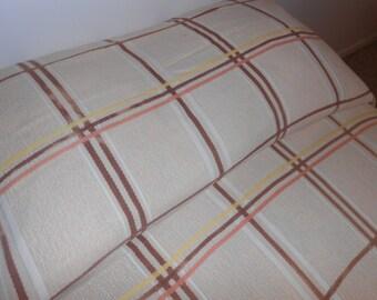 Vintage 1950s Plaid Bedspread Twin