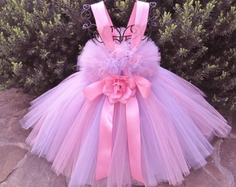 PINK AND PANSY - Tutu Dress - Flower Girl Gown - First Birthday Dress - Pageant Outfit - Baptism Dress - Pink Tutu Dress - Lavender Tutu