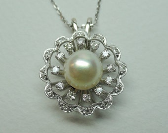 A Vintage Sunburst Filigree Pendant--White Gold with Diamonds and White Cultured Pearl (A1470)
