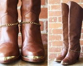 vintage 70s tall brown pirate boots with gold chain / size 7 1/2