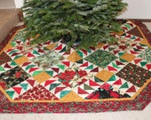 Large Christmas Tree Skirt Quilt with Birds and Poinsettias