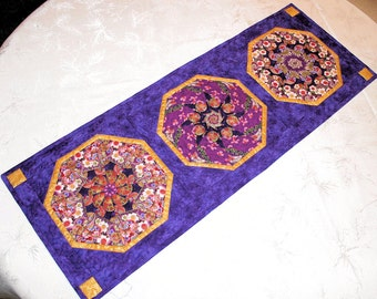 Oriental Table Runner in Purple and Gold, Stack and Whack style blocks