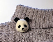 Giant Panda Brooch, needle felted miniature, children jewelry, black, whitel, handmade