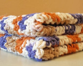 Crochet Washcloths - Orange Purple & Cream Scrubbie Cloth, Eco Friendly Cleaning Cloth, Handmade Washcloth - SET OF 2 - 100% Cotton Yarn