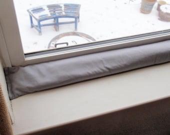 Draft Stopper - Handmade AROMATIC Balsam Fir & Rice - Durable Slate Gray HD Fabric - Energy Saver for Drafty Door and Windows - Draft Snake
