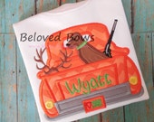 Hunting Truck with Dog Applique Shirt For Boy-Persomalized-Hunting Buddy-Daddys Boy