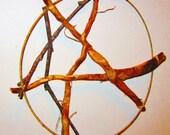 Rowan Root Pentacle, Sacred Wood Stick Star, Rustic Rowan Nature Art, Rowan Stick Hanging Star, Wiccan Pagan Druid Altar Decor, Celtic Lore