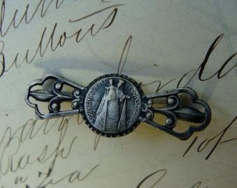 Antique Art Nouveau Religious Silver Brooch/Pin