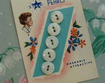 Lady Fashion Antique Sewing Pearl Button Card