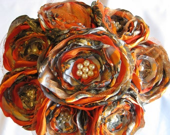 Jillianns BLAZE ORANGE and CAMOUFLAGE Bouquet with a touch of tulle and pearls