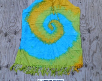 Yellow, Blue and Green Spiral Tie Dye Beach Top (Dharma Trading Co. 100% Rayon Size L) (One of a Kind)