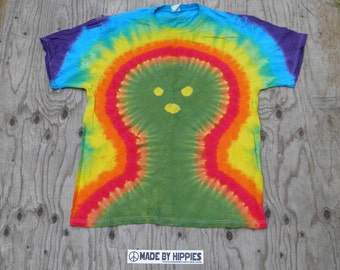 Happy Mr Alien Tie Dye T-Shirt (Jerzees Size XL) (One of a Kind)