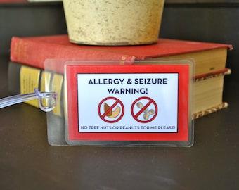 Allergy Warning Bag / Luggage Tag, Laminated