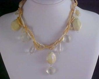 Free Ship ~ Torsade Lucite Crystal & Aurora Borealis Bead Necklace