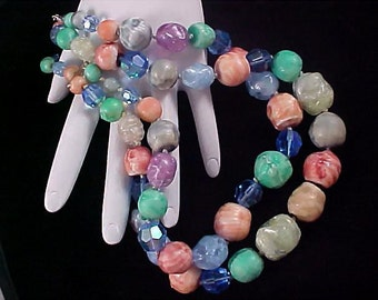 Incredible Glass Stones Tourmaline, Carnelian, Crystals and Quartz ~Two Strand Necklace ~ 154.4 grams