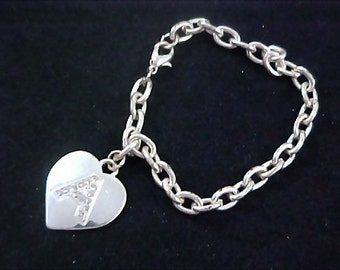 "Reduced ~ Charming HEART ~ Diamante ~ Initial ""A""Charm Silver Plate Bracelet"