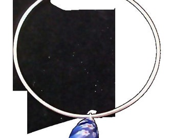 STERLING Silver Bangle ~ Millefiori Cobalt & Red Charm