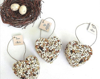 100 All Natural Bird Seed Heart Party Favors - Unique Bridal Shower Favor Ideas by Nature Favors