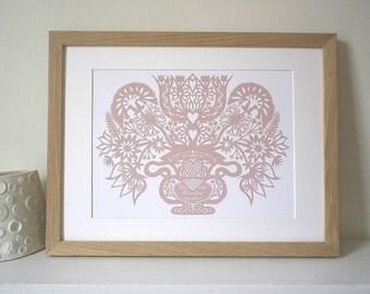 Romantic Personalised Flower Vase Print