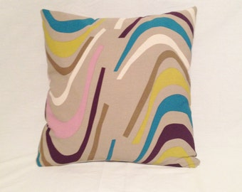 Pillow Taupe, Pink, Purple, Mustard and Turquoise Canvas from Ikea