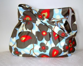 Pleated Hobo Bag in Amy Butler Lotus Morning Glory Linen-MED