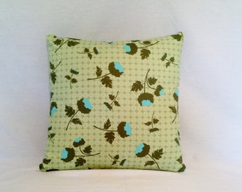 Pillow Geometric Olive Green Turquoise Florals Joel Dewberry