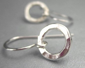 Tiny Silver Hoop Earrings, Sterling Silver, Small Circle Earring, Hammered Silver
