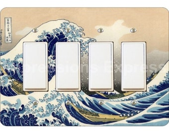 Kanagawa Great Wave Hokusai Painting Quadruple Decora Rocker Light Switch Plate Cover