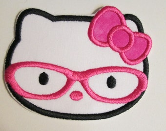 Iron on Applique -  Kitty with Glasses