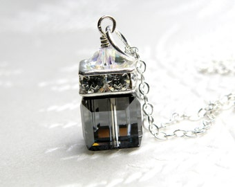 Black Crystal Necklace, Black Swarovski Cube Pendant, Sterling Silver, Bridesmaid Wedding Handmade Jewelry, Ready to Ship